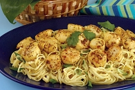 Lemon Scallops with Curry Yogurt Sauce